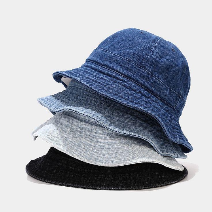 Blue denim bucket hat black round sun hat little tailor