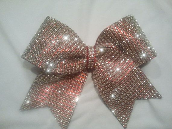 """Big Bling Cheer Bow! 3"""" Texas Size Red & Silver """"Rhinestone"""" Luxury Bow-Choose Color! Perfect Team Comp Bows-Discounts! Sparkly Crystal!"""