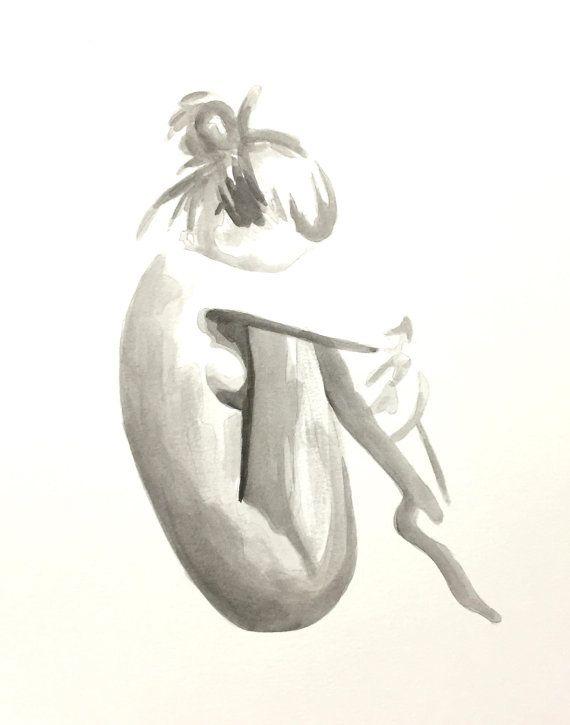 Aquarelle originale, peinture abstraite - femme nue - nu - Art de la salle de bain, chambre à coucher Art, cadeau d