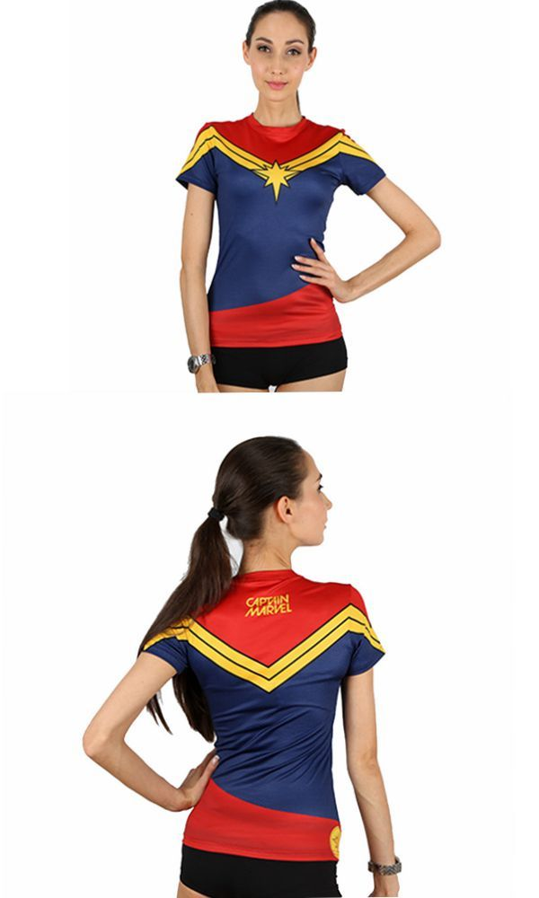 WOMEN CAPTAIN MARVEL SPORTS COMPRESSION T-SHIRT. Tap the picture to find your favorite at G-LIKECLOTHES.COM