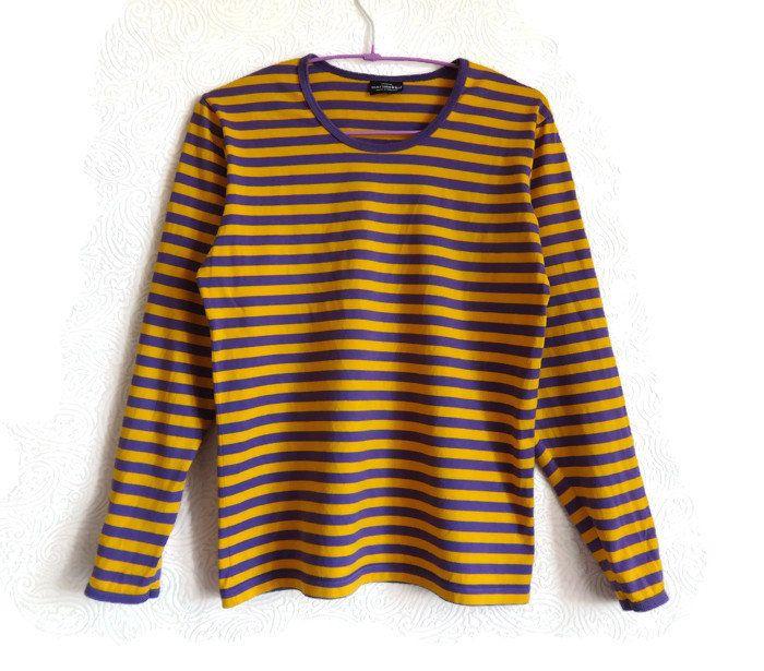 MARIMEKKO Yellow& Violet Striped Shirt Cotton Jersey Top Nautical Top Marimekko Clothing Women's Shirt XS Size Clothing Vintage Cotton Shirt by Vintageby2sisters on Etsy