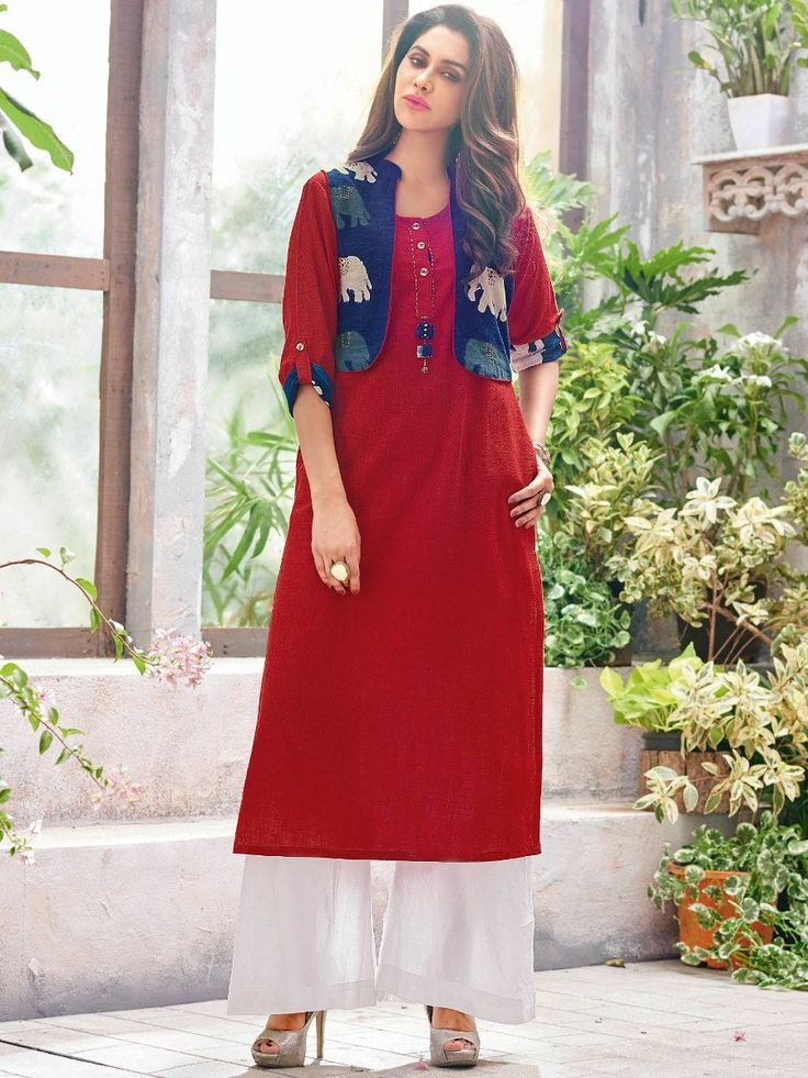Buy Retro Red & Blue Cotton Linen Kurti with Jacket - R5-106 ✔ Free Shipping ✔ 15 Days Return ✔ Cash on Delivery