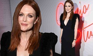 Julianne Moore, 55, exudes sexy elegance in plunging black frock at the premiere of short film Ferragamo Signature | Daily Mail Online