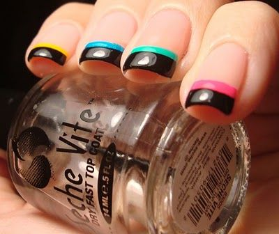 Neon Black Tip Funky French #nails, #fashion, facebook.com/...