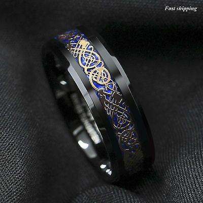 8Mm Black Tungsten Ring Rose Gold Celtic Dragon Blue carbon fibre Mens Jewelry