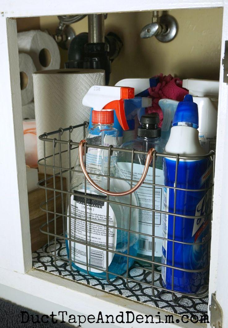 How to organize cleaning supplies under bathroom sink storage   DuctTapeAndDenim.com