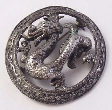 Vintage MIRACLE Scottish Celtic Silver tone [antiqued pewter?] Dragon Brooch Pin