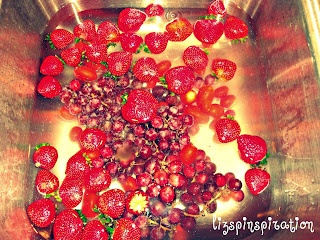 Washing produce in vinegar/water mixture to cut down on bacteria/mold & prolong fruit life.