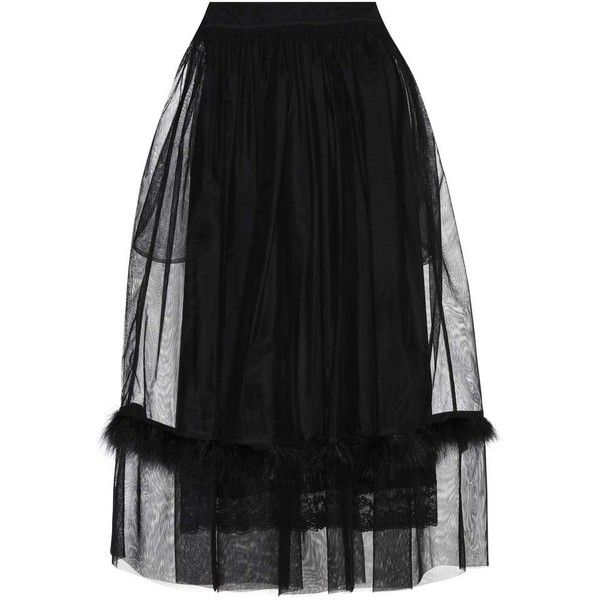 Simone Rocha Feather-Trimmed Mesh Skirt ($860) ❤ liked on Polyvore featuring skirts, black, midi & long, midi skirt, mesh midi skirt, long skirts, mid calf skirts and mesh skirt