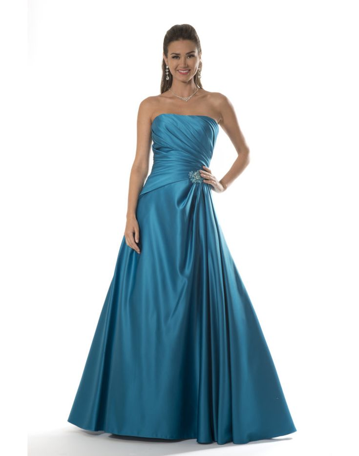Straight neckline in matte satin and pleated bodice with side beaded appliqué accent and lace up back with an A-line skirt.    Fabric(s): Matte Satin    Color Available: All Current Matte Satin Colors    Size: 0 to 28