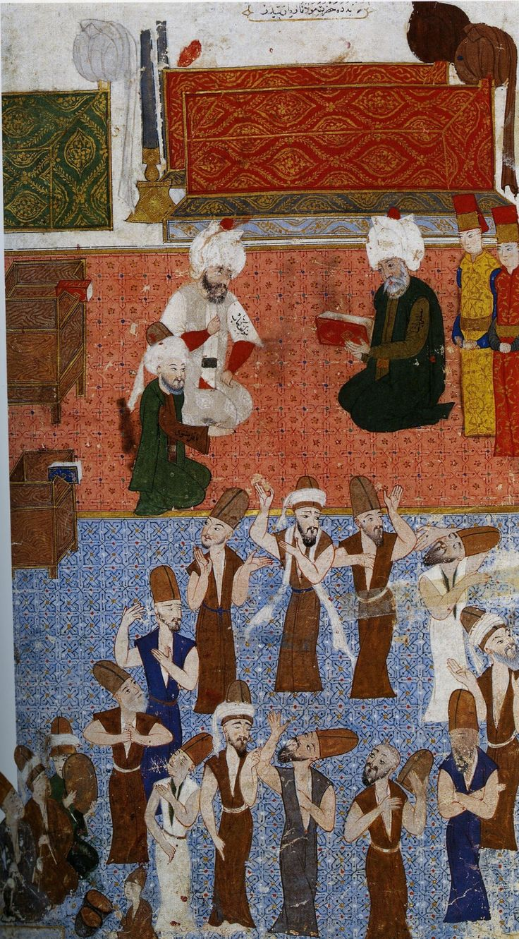 Ottoman Grand Vizier Lala Mustapha Pasha (d.1580) [ right ] visits the mausoleum (turbe) of Mevlana Jalaladdin Rumi, in Konya, Turkey. Ottoman miniature from Nusretname (16th c.) source