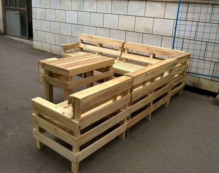 handmade pallet L-shape patio sofa set