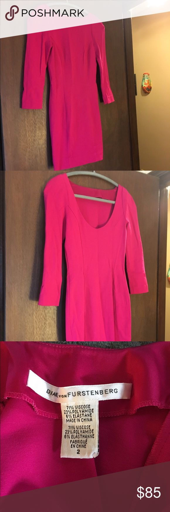 """DVF bodycon dress. Size 2 Only worn once or twice. Bright pink DVF dress. 3/4 sleeves, hits above knee. Stretchy. Shoulder to hem: 32.5"""", bust (front): 14"""". No trades. Reasonable offers only. Diane von Furstenberg Dresses"""