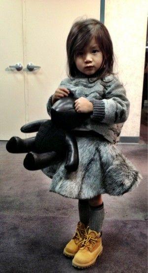 Wang's niece, Aila backstage. (Photo: @AlexanderWangNY twitter)