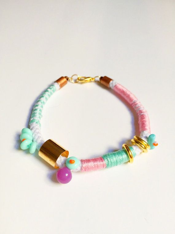 Pastel baby pink baby blue gold beaded rope tribal bracelet