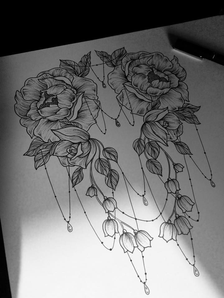 Symmetrical Roses Chains Design | Lovely Back Tattoo Idea...