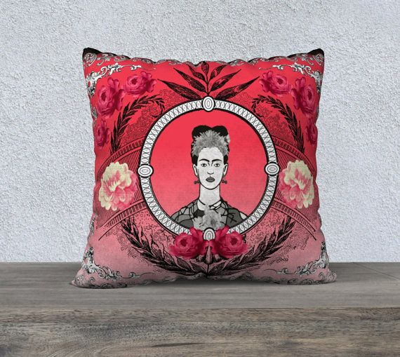 Large Funky Red Black and White Frida Kahlo with by nantulov
