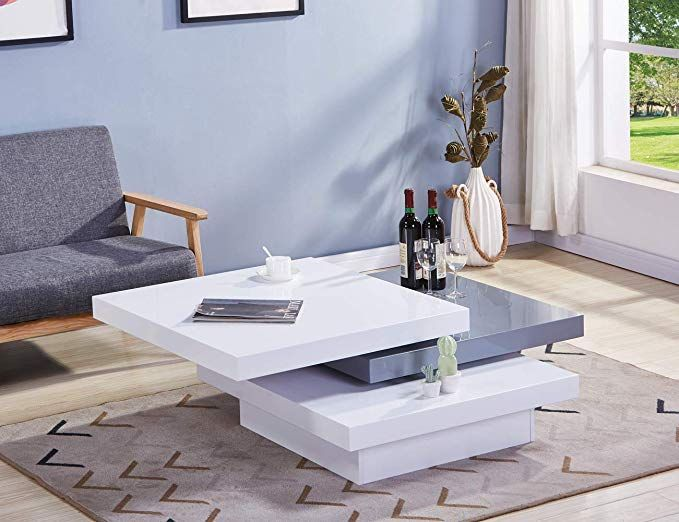 Goldfan Modern Coffee Table High Gloss Rotatable Large Square