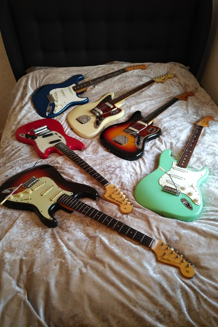 My guitar collection! 1982 fullerton Strat, 1965 Olympic white Fender Jaguar, 1962 slab board Fender Jaguar, 1988 surf green 62 Fender Stratocaster, 1964 earliest known Fender Mustang and a 1961 all original Fender Stratocaster. These are all original with cases and complete case candy. Next on the list is a Jazzmaster.