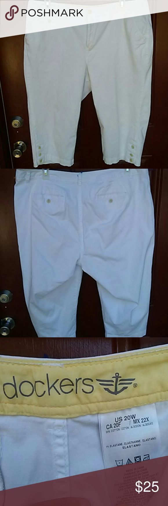 Capri White Pants Plus Size!!!! I have a never been used White Capri pants...its a cute pants....i wish it can fit me...so my trash your treasure....its a size 20W  #No Trade #Yas to bundles   ***Thanks For Stopping By*** Dockers Pants Capris
