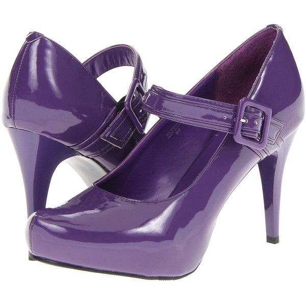 Gabriella Rocha Athens 2 ($46) ❤ liked on Polyvore featuring shoes, pumps, heels, purple, purple shoes, purple patent, heel pump, mary-jane shoes, patent leather mary jane pump and strappy pumps