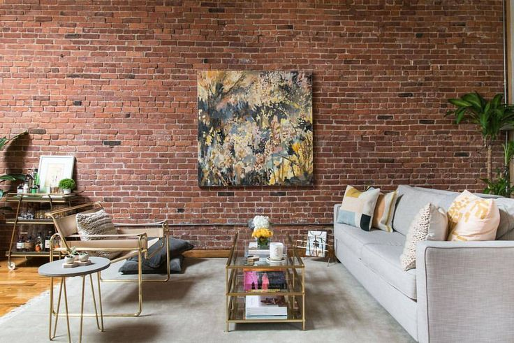 Brick wall and original art / home decor -  this Instagram photo by @homepolish • 3,432 likes