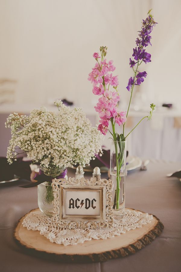 NEAT! reception table name/number idea --- vintage frames on rock and roll band names as wedding centerpieces