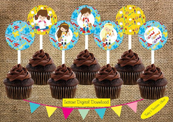 Art Party Cupcake Toppers. Instant Download Digital File. JPG.