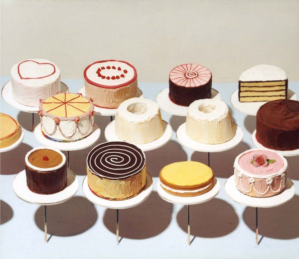 Painter Wayne Thiebaud is America's poet of the deli counter, depicting muffins, cupcakes, and pies with the delicacy and physicality usually reserved for human bodies. As in Cakes, he brushes impasto paint onto the surfaces of his desserts until they appear literally frosted. His colours are as saccharine as the food — Thiebaud loves pinks, light blues, and yellows.