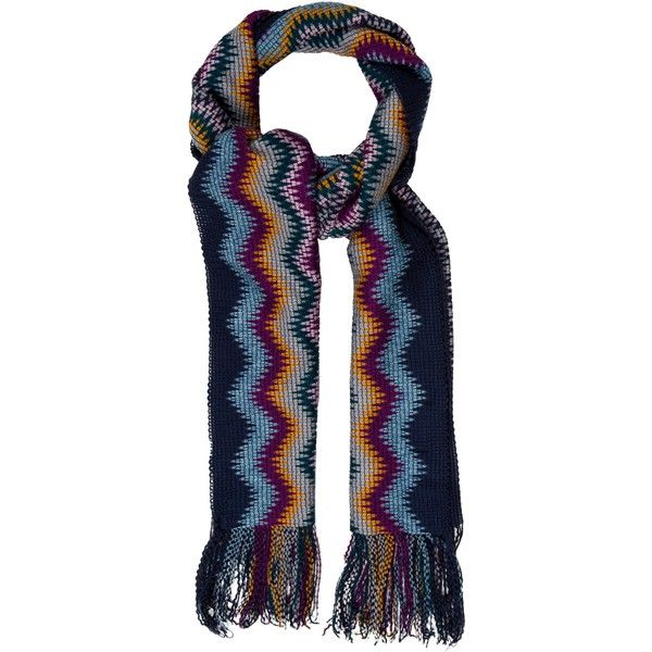 Pre-owned Missoni Wool Chevron Scarf (1,500 EGP) ❤ liked on Polyvore featuring accessories, scarves, blue, woolen scarves, chevron scarves, blue scarves, woolen shawl and missoni shawl