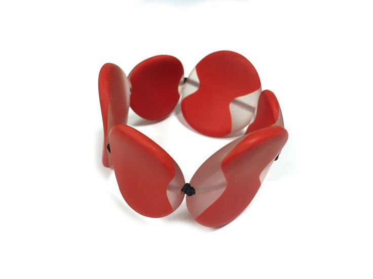 Eleanor - One Button disc stretch cloud design bracelet #red #bigboldbright #bracelet #accessories #onebutton Click to buy from the One Button shop.
