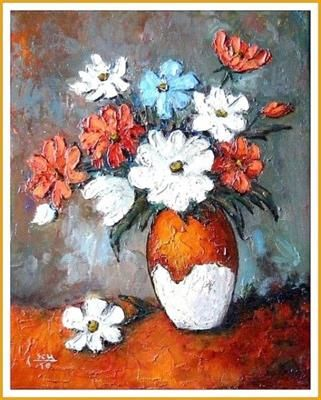 """""""Flowers""""painting by Constantin Paunescu"""