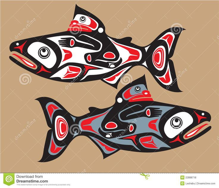 native tribal art | Royalty Free Stock Photos: Fish - Salmon - Native American…
