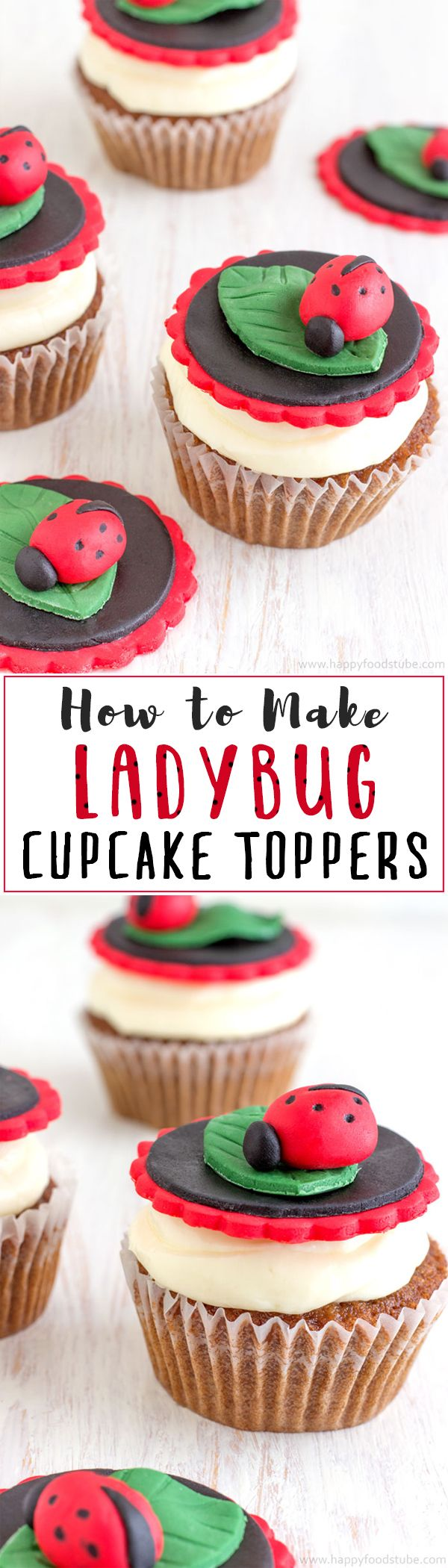 Easy ladybug cupcake toppers video tutorial