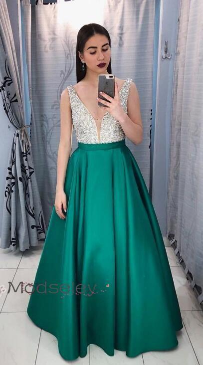 492e3d90e2218 Emerald Green Long Prom Dress, Satin Prom Dress, 2019 Prom Dress, Gorgeous Prom  Dress, Formal Evening Dress