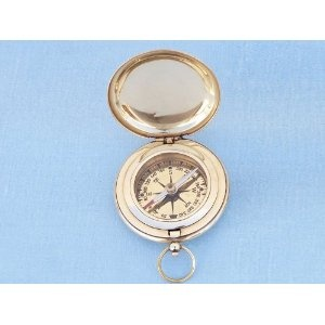 """Captain's Brass Push Button Compass 3"""" - Brass Pocket Compasses - Model Ship Wood Replica - Not a Model Kit (Toy)  http://howtogetfaster.co.uk/jenks.php?p=B003B3YMBQ  B003B3YMBQ"""