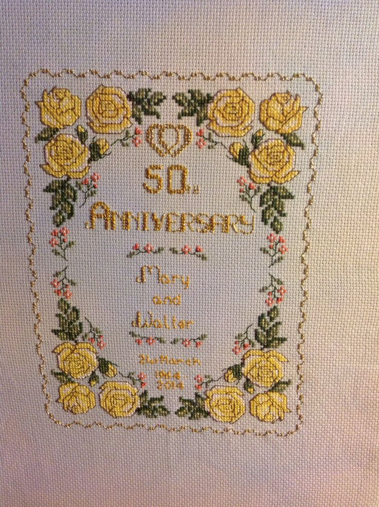 Walter And Mary S Golden Wedding Sampler X Cross Stitch