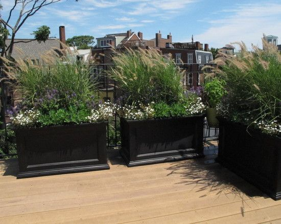 Decorating: Traditional Landscape With Black Large Outdoor Planter Boxes And Green Grass Plants Also Wooden Flooring Idea, outdoor planter boxes, Planter box bench Seat ~ Vaiglobal