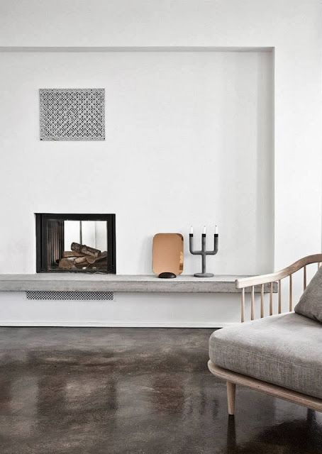Neutral Danish living room with polished concrete floors