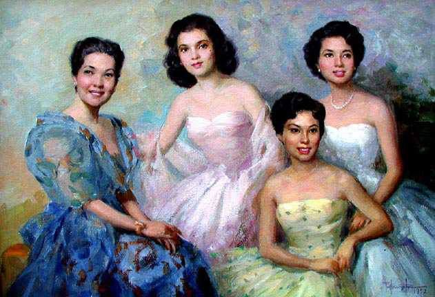 Lacson Ladies in the 1950s a painting by Fernando Amorsolo ...