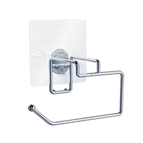 EZDaisy Toilet Paper Roll Holder  Self Adhesive Stainless Steel Bath Tissue Dispenser  Self Stick For Easy Bathroom Wall Mount or Smooth Surface Installation >>> You can get additional details at the image link. Note:It is Affiliate Link to Amazon.