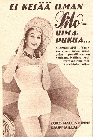 Silo-uimapuku-mainos/1957