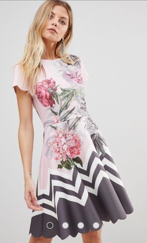 809dd0da8 Ted Baker Haiilie Palace Gardens Skater Dress Ted size 3 UK size 12   fashion
