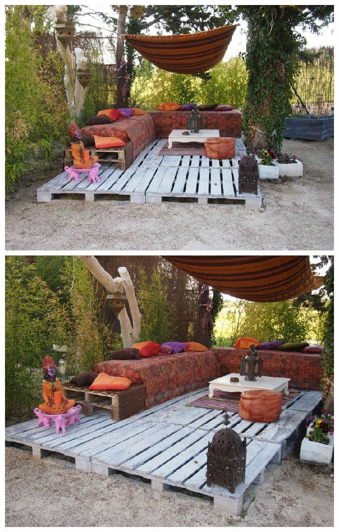 """I wanted a warm and friendly place for my 20 m2 terrace made with repurposed pallets, Moroccan sofa also done with pallets, all in one """"Morocco Bollywood"""