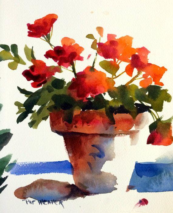 Geraniums Floral Original Watercolor Painting By Pat