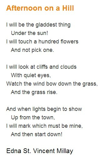 The feeling of a Saturday morning This is my favourite Edna St Vincent Millay poem!