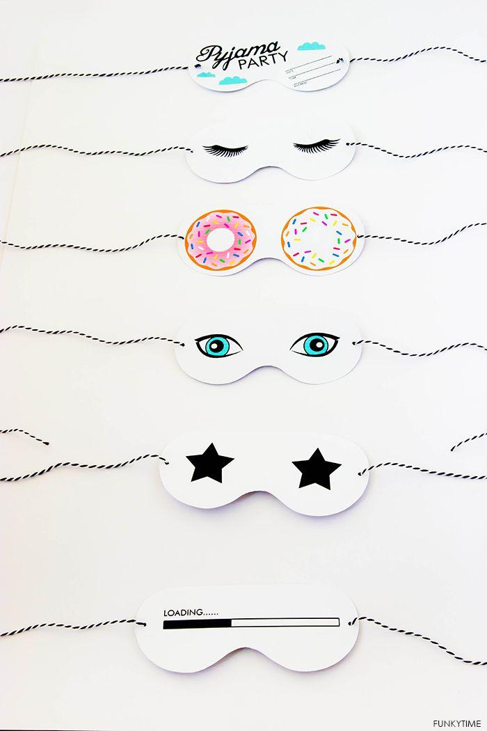 FREE printable sleeping masks for pajama party invitations
