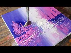 Abstract Painting / Landscape / Blue & Pink / Easy For Beginners / Relax / Daily Art Therapy / Day # 0169 – YouTube