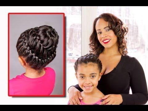 Double Crown Braid with Donut Bun Tutorial - Untrained Hair Mom