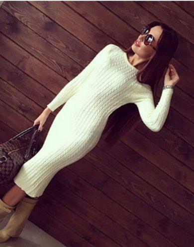Back Slit Womens Sweater Dress Solid Long Jumper  Sweater Dress www.essish.com